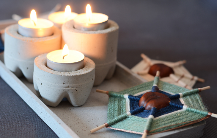 rotkehlchen diy chestnutspiders concrete candle holders book review beton deko f r drinnen. Black Bedroom Furniture Sets. Home Design Ideas