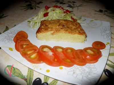 Emplatado de la Tarta-suflé de puerros.