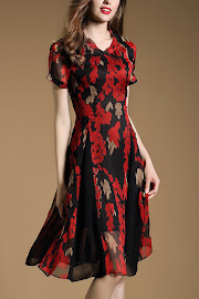 New 2016 Short Sleeve Red Flowing Floral Flare Dress