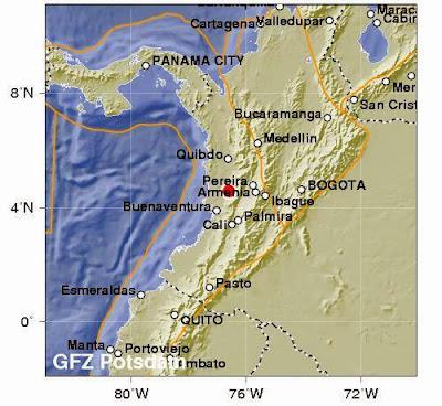 SISMO DE 5,3 GRADOS SACUDE COLOMBIA, 05 de Enero 2014