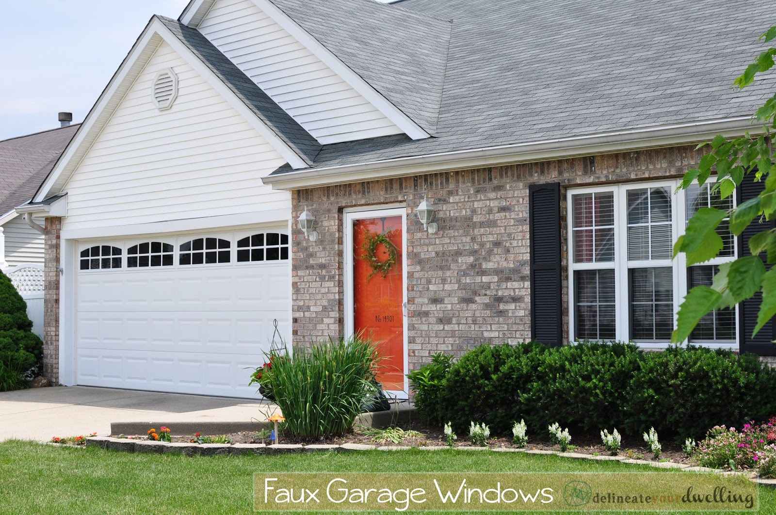 Install faux garage windows for 2 door garage door