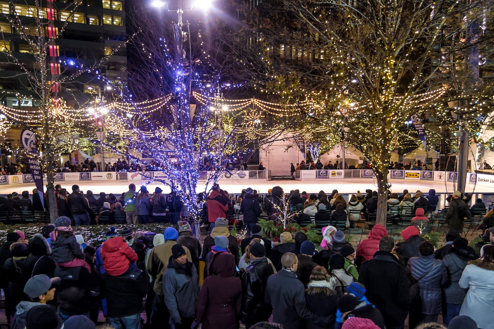 campus martius downtown tree lighting ceremony detroit