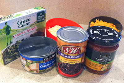 Simple ingredients for fast and healthy spinach black bean dip- http://alohamoraopenabook.blogspot.com/