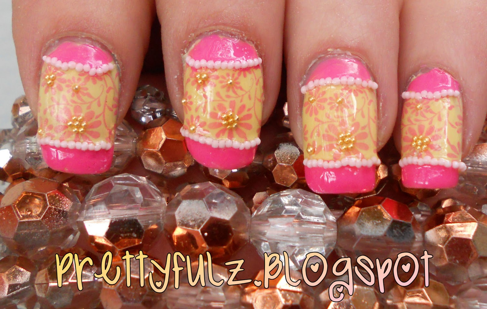 Cute Pink Yellow Spring Nail Design Tutorial