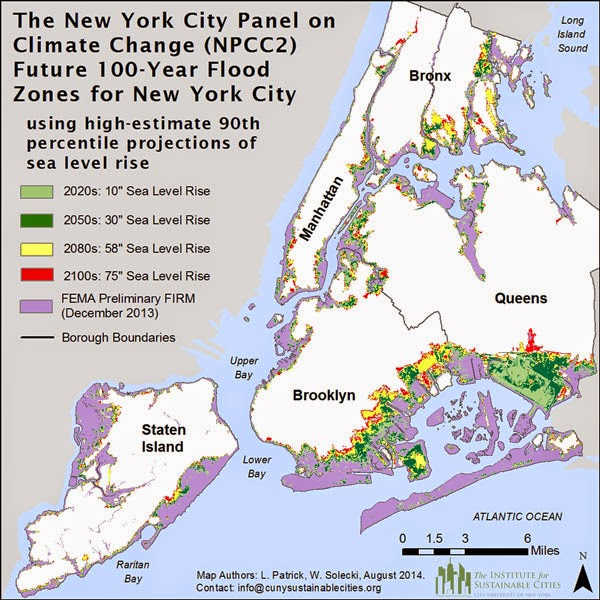 Future flood zones for New York City. (Credit: NPCC 2015)  Click to Enlarge.