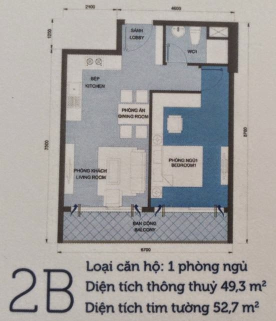 Căn hộ Vinhomes Central Park 6 - căn hộ số 2B - 52,7m2 - 1PN