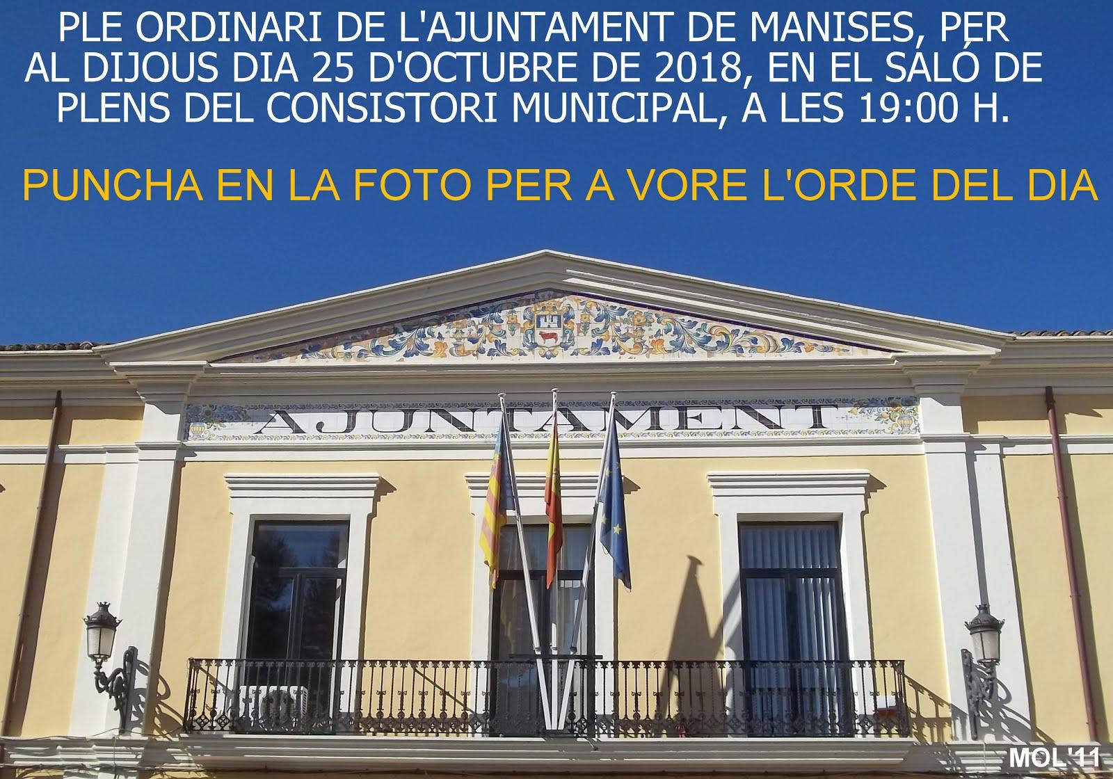 25.10.18 PLENO ORDINARIO DEL AYTO. DE MANISES DEL MES DE OCTUBRE
