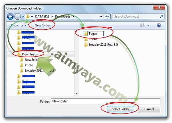 Gambar: Memilih dan membuat folder baru tempat menyimpan hasil download