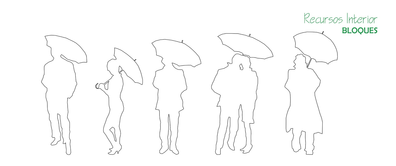 10 bloques para descargar .dwg. Silueta de personas con paraguas ...