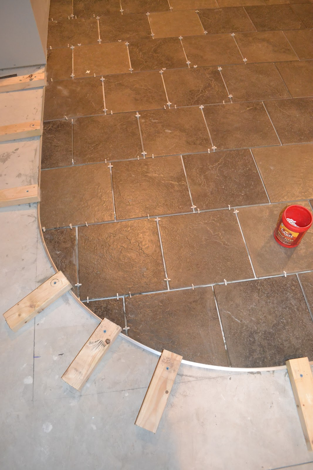 How to Curve a Tile Transition Strip - The Penny Parlor: How To Curve A Tile Transition Strip
