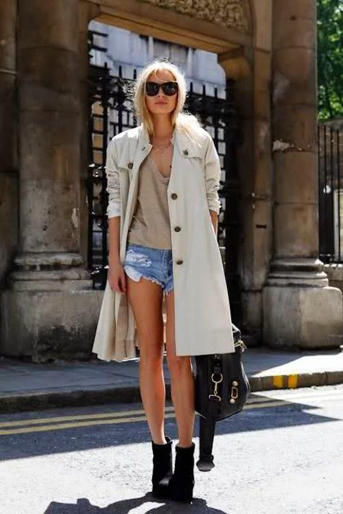 Long Coat- Tranch Coat- Denim Cut Off Shorts-Golden Divine Blog