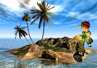 Ben 10 Running Teen Hero at 3D Ben Ten Desert Island desktop wallpaper