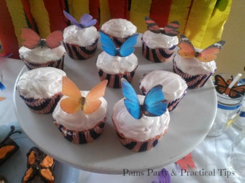 Colorful Butterfly Cupcakes with Edible Butterflies