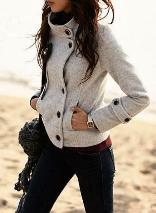 Modern, Sports Grey Jacket with Navy Blue Jeans