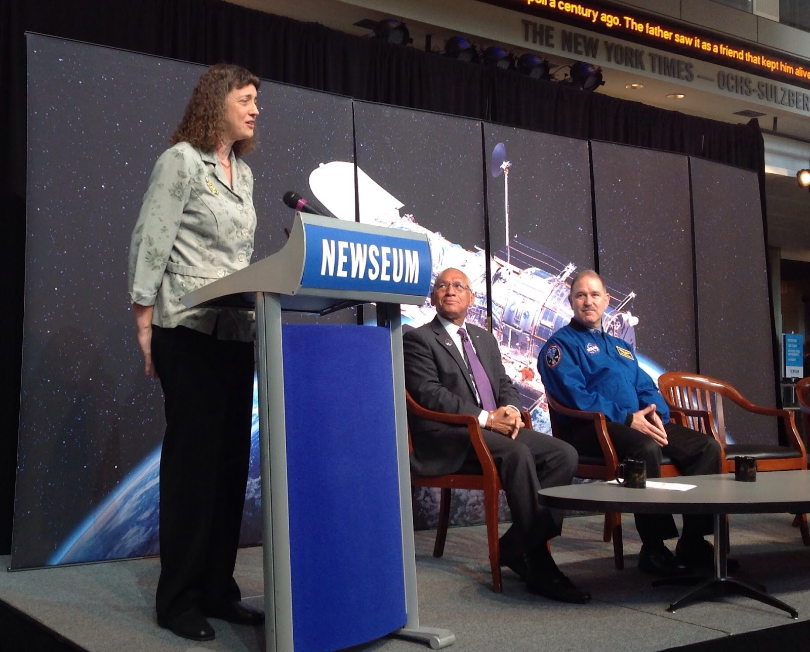 Jennifer Wiseman, Charles Bolden, and John Grunsfeld, speak at a NASA Press Conference for the Hubble Space Telescope 25th Anniversary Image Unveiling.