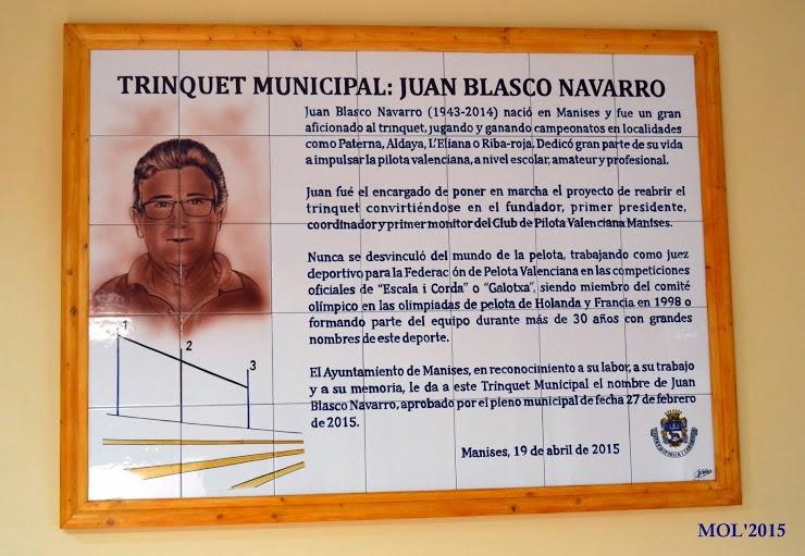 JUAN BLASCO NAVARRO >TALES> HOMENAJE EN EL TRINQUET DE MANISES