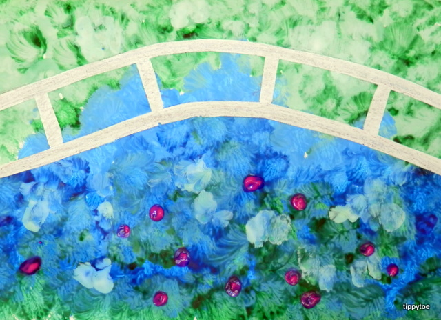 i was just planning on having the kids paint the bridge along with everything else but then as i was searching for other ideas i saw how they used tape - Monet Coloring Pages Water Lilies