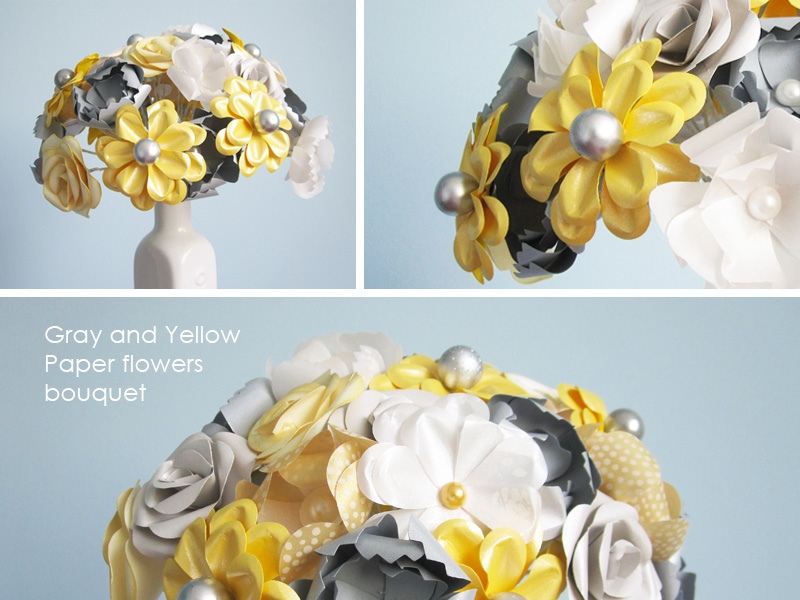 Gray and Yellow Paper Flowers This color combo seems perfect for today 39s