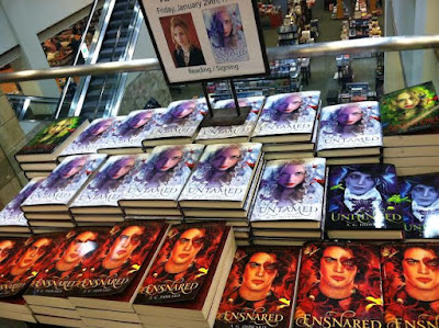 Splintered book display in Frisco. Photo taken by Amber, the Blonde Writer