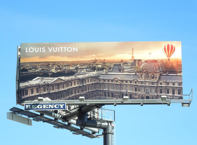 Louis Vuitton hot air balloon over Paris billboard