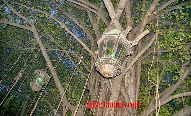 Árboles y faroles del restaurante Lara Djonggrang en Yakarta