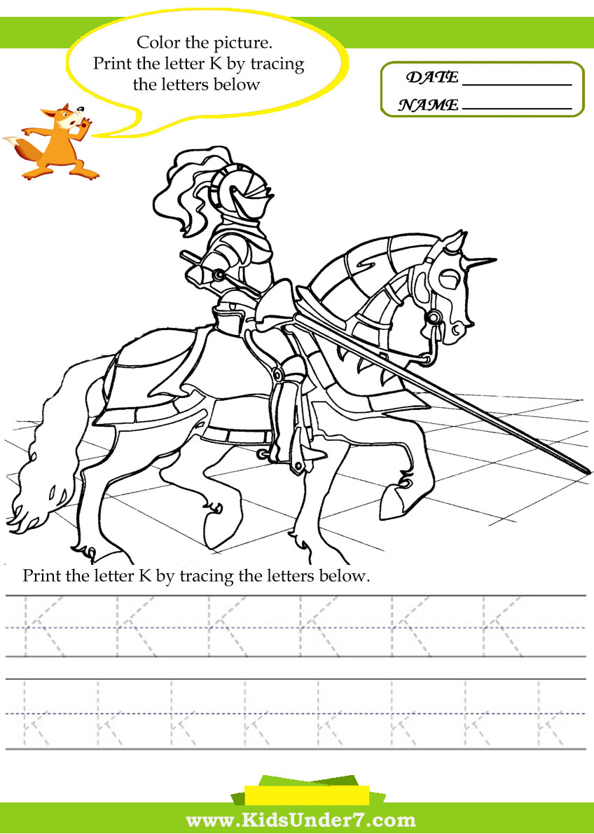 kids under 7 alphabet worksheets trace and print letter k