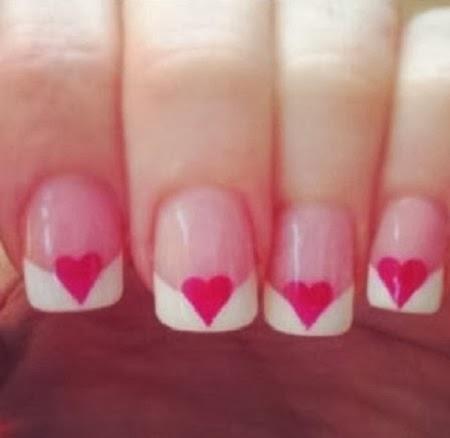 Uñas Pintadas, Diseño Corazones Rojos, San Valentin