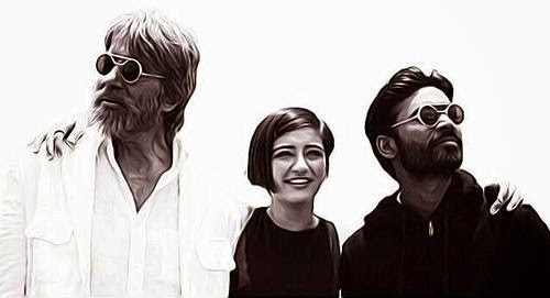 Amitabh Bachchan, Akshara Haasan and Dhanush depicting SHamitabh movie story