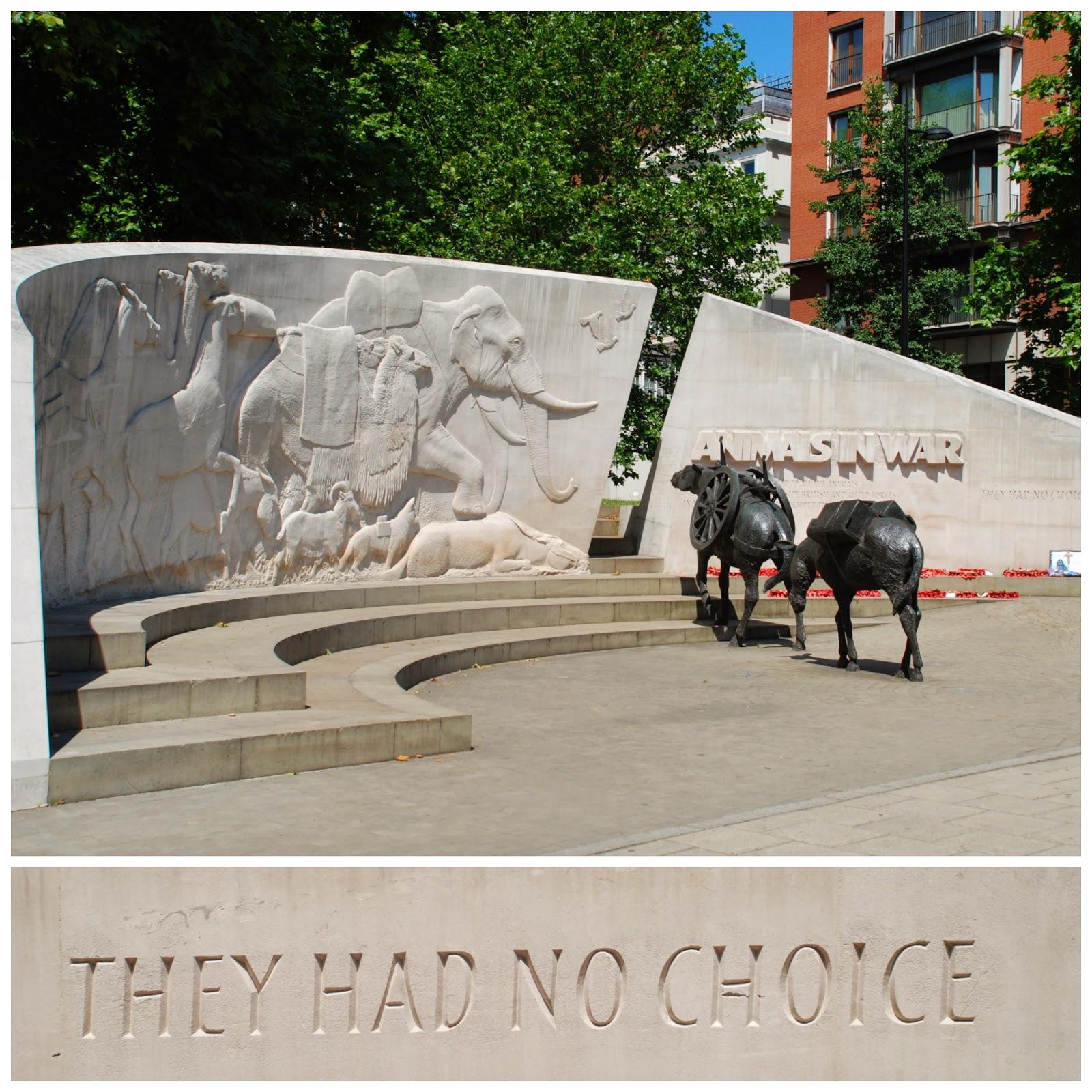 Animals in War Memorial, Park Lane, London