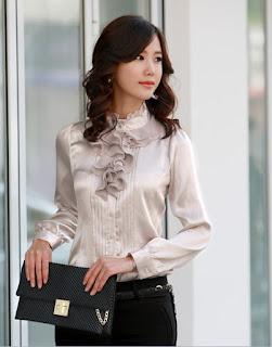 modelo de blusa social com babado