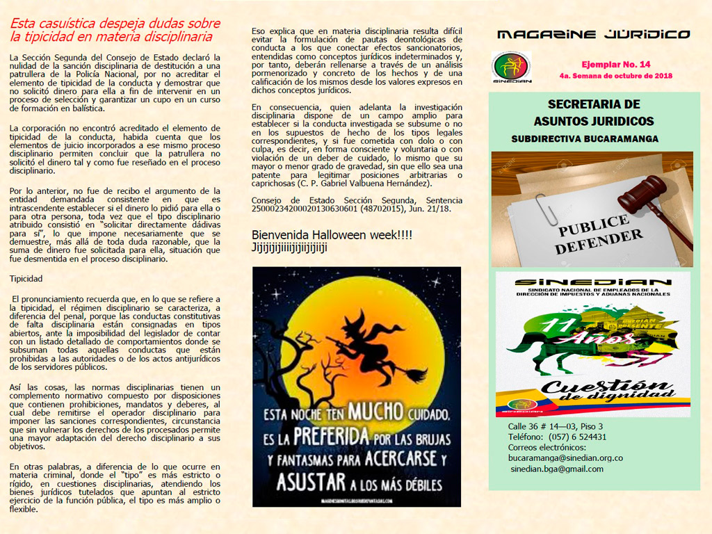 Magazine Jurídico Ejemplar No. 14 4a. Semana de octubre de 2018
