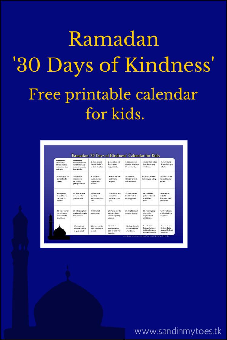Calendar Ramadan : Busy hands ramadan kindness calendar for kids free