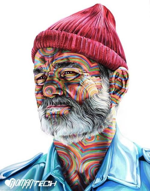 07-Bill-Murray-Steve-Zissou-The-Life-Aquatic-Joshua-Roman-Rainbow-Portraits-Drawings-Illustrations-www-designstack-co