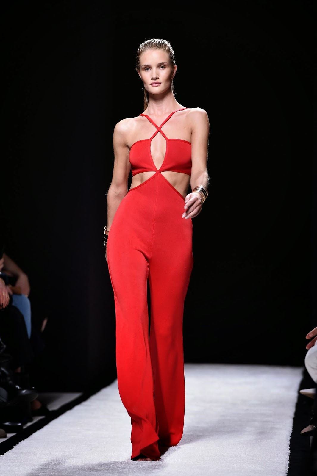 Rosei Huntington-Whiteley walks the Balmain Spring/Summer 2015 Paris Fashion Week Show in a revealing jumpsuit