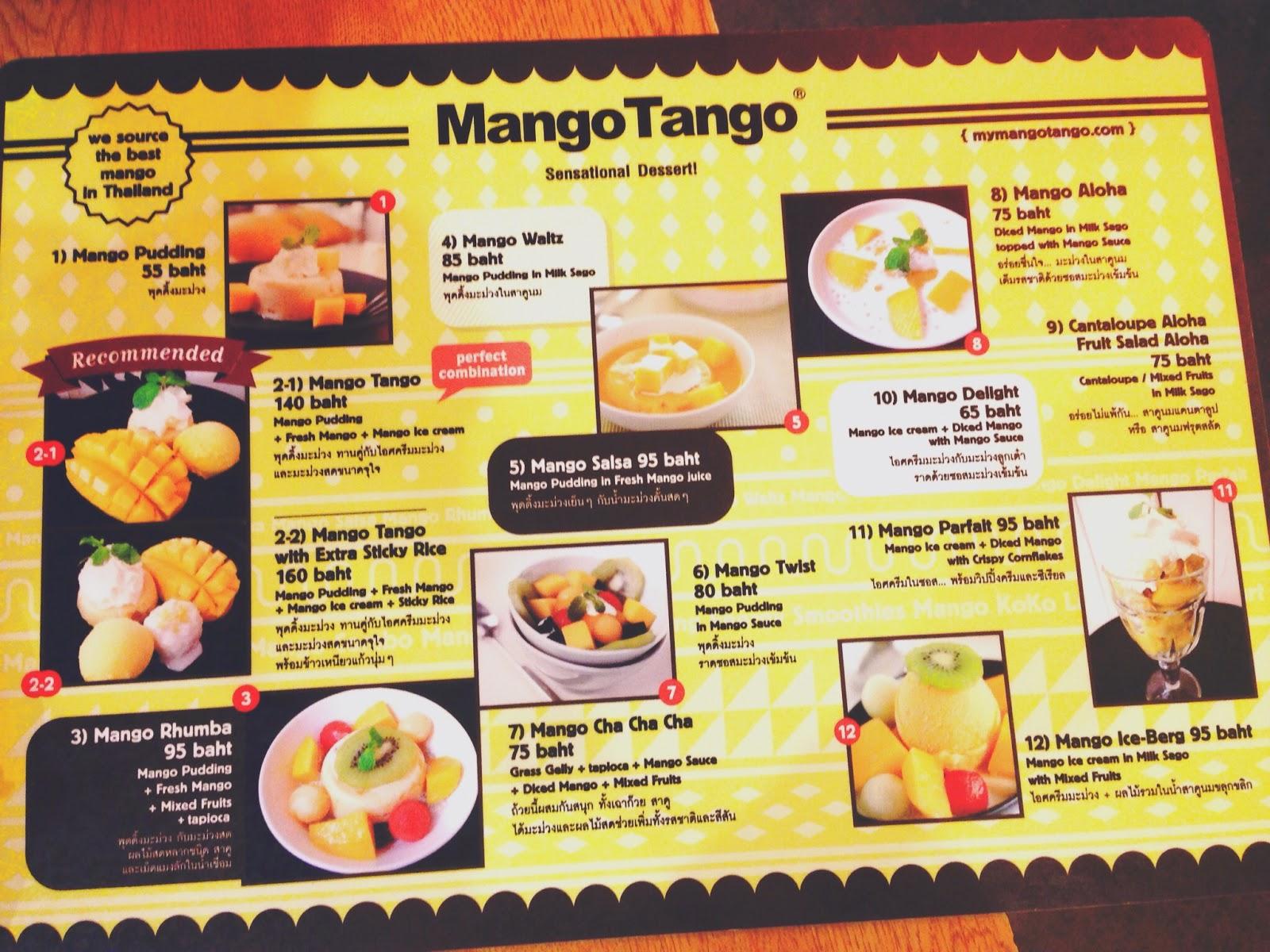 Mango Tango Siam Square Bangkok Menu