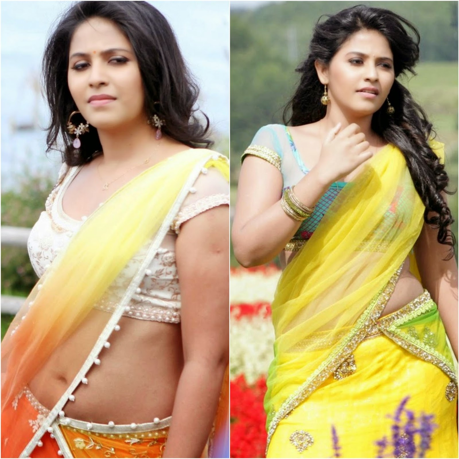 Actress Anjali Unseen Cute Hot Half Saree Navel Show Spicy Photoshoot Gallery