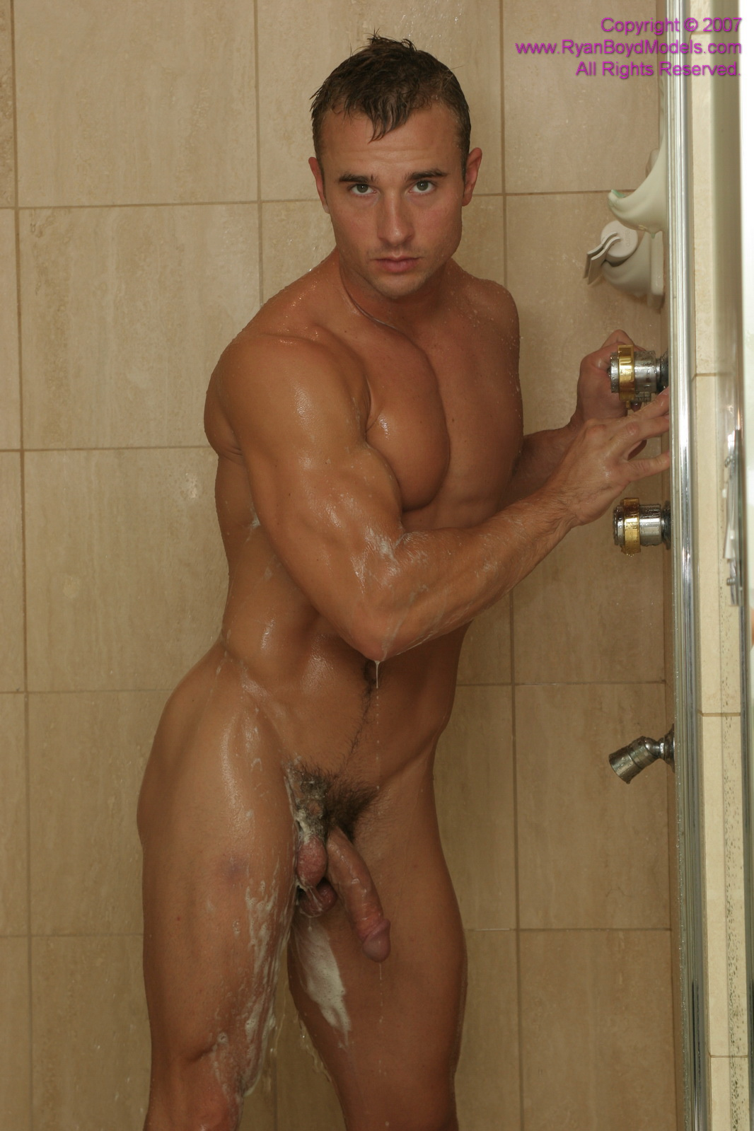 Naked flaccid men in shower