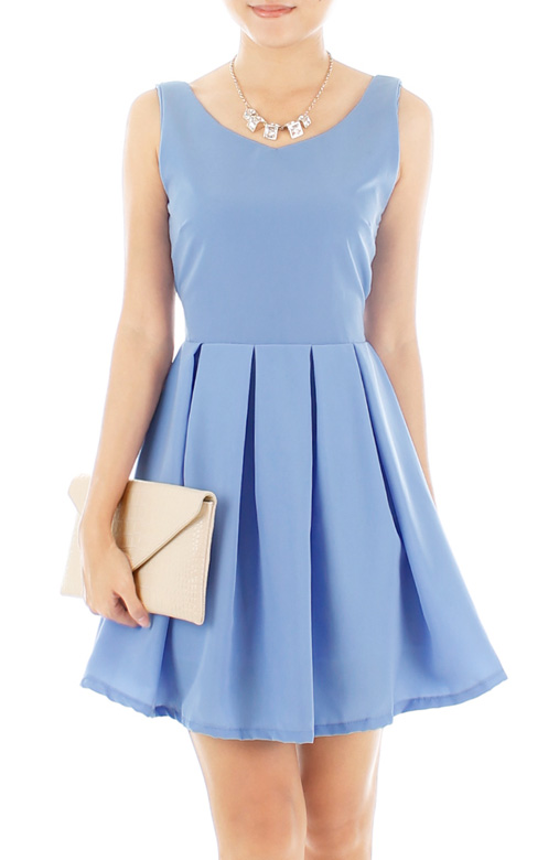 Summer Crush Tie-back Flare Dress – Periwinkle Blue