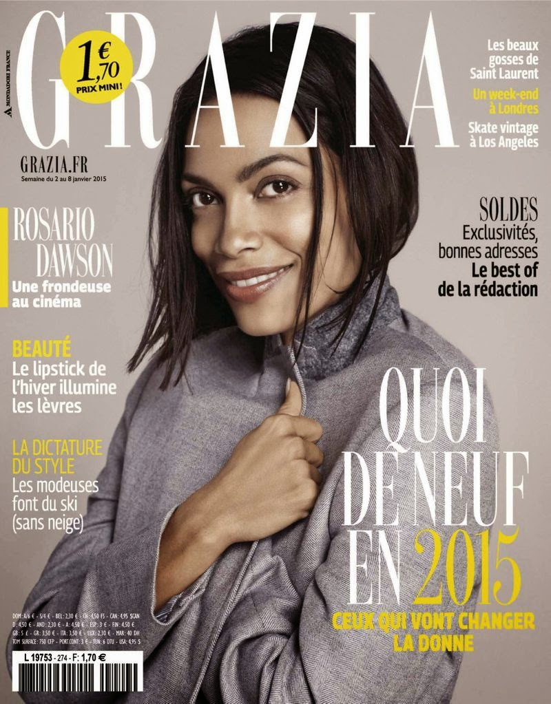 Rosario Dawson by David Roemer for Grazia, France, January 2015