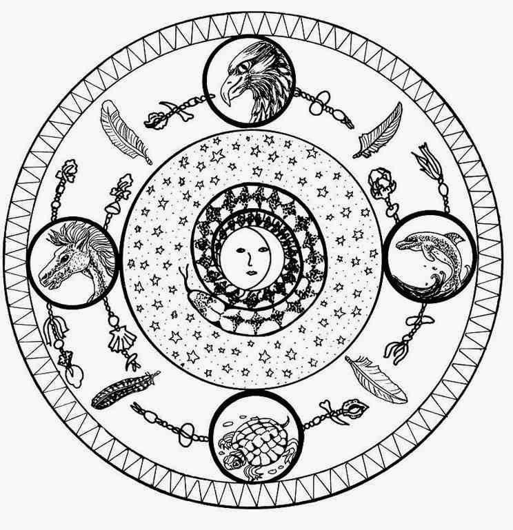Four Elements Mandala Coloring Pages Worksheet