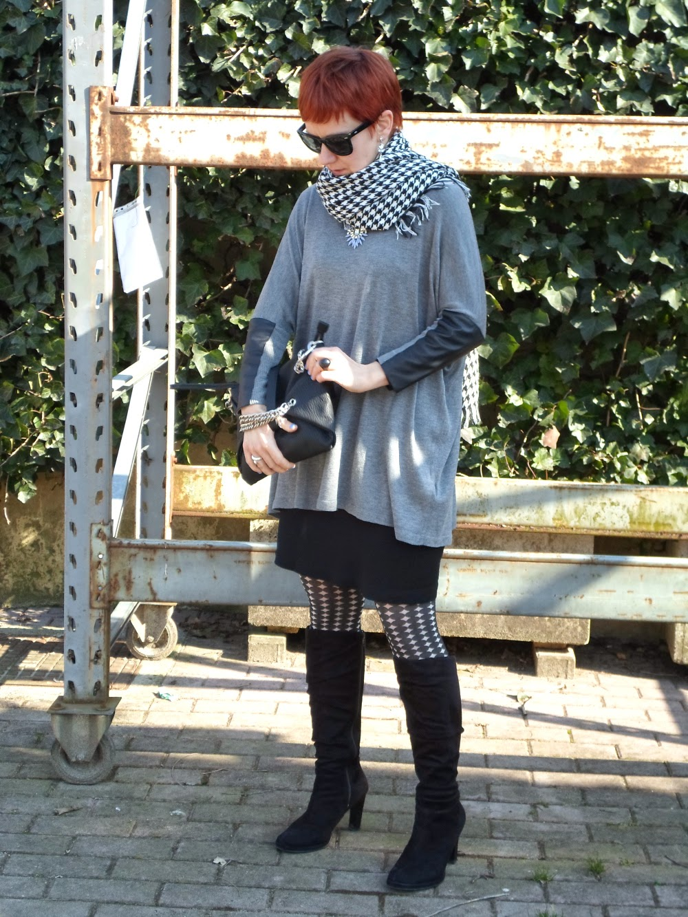 Batwing PU Panel Sleeves Top, Little Black Wrap Dress, Funky Black & White Tights, Heeled Sued Boots, Houndstooth Scarf | Vogue it Up - Houndstooth & Funky Tights || Funky Jungle, fashion and personal style blog