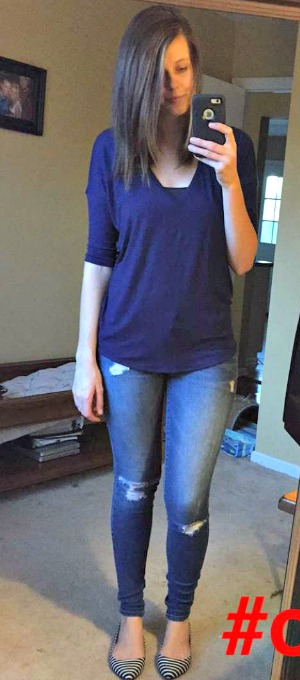 Pinspired Outfits Lately - Blue express one eleven tee + distressed jeans + striped flats