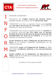 C.T.A. INFORMA CRÉDITO HORARIO ANTONIO PÉREZ, FEBRERO 2020