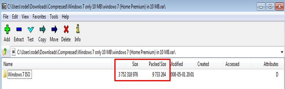 Windows 7 Installer packed in 10 MB file size