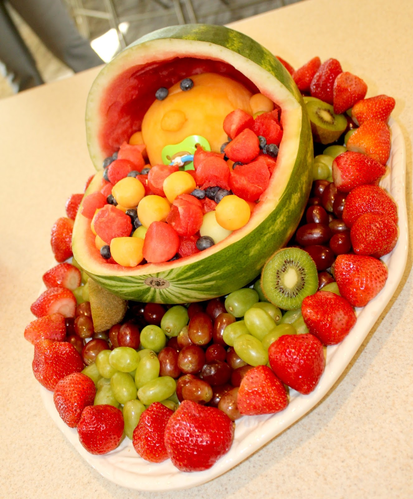 Baby Shower Fruit Baby In Watermelon Carriage