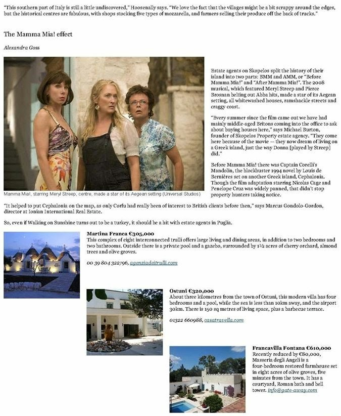 Masseria in Sunday Times article