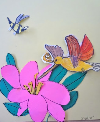 pollination art lesson, hummingbird art lesson for kids, 2nd grade spring art lesson