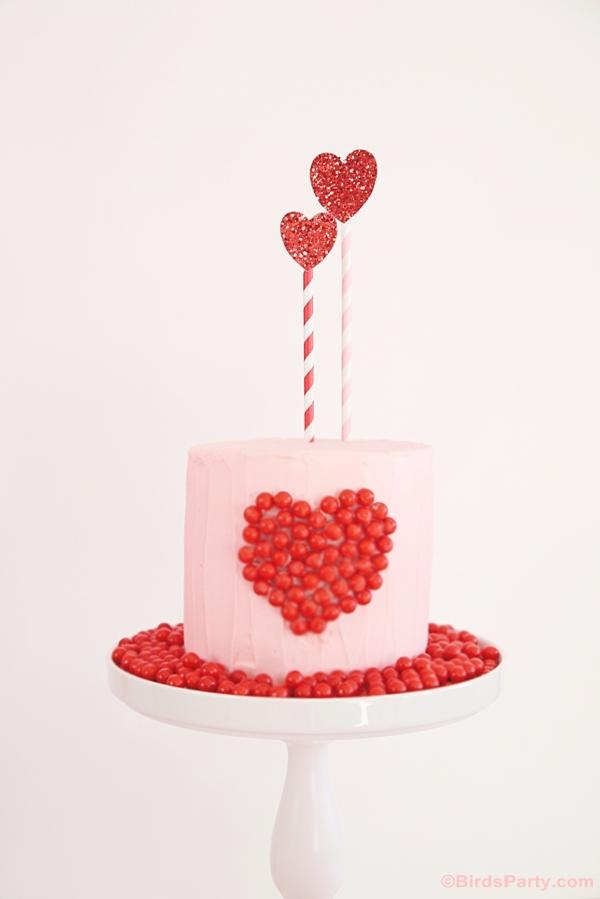 DIY Sweet Heart Valentine's Day Cake using Sixlets