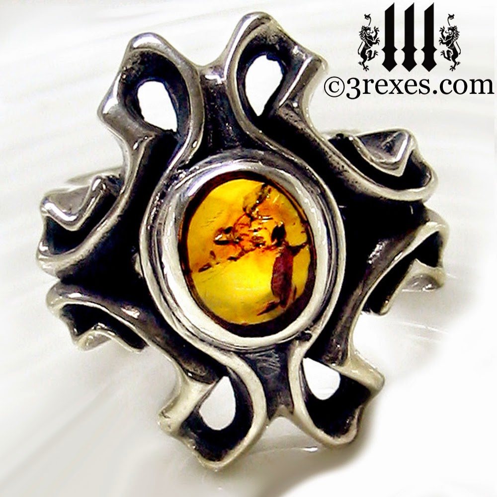 The Empress Vampire Silver Ring Amber Stone