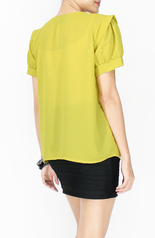 Chartreuse Edgy Shoulder Blouse with Pintuck Detail